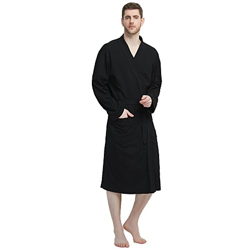 M&M Mymoon Men's Kimono Robe Long Comfy Bathrobe Cotton Loungewear Spa Cloth Robe (Black, L/XL) by M&M Mymoon (Image #1)
