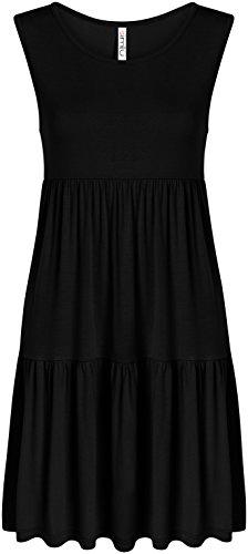 - Black Sleeveless Summer Dress for Women Plus Size and Regular T Shirt Tiered Dress, Black Sleeveless, XX-Large