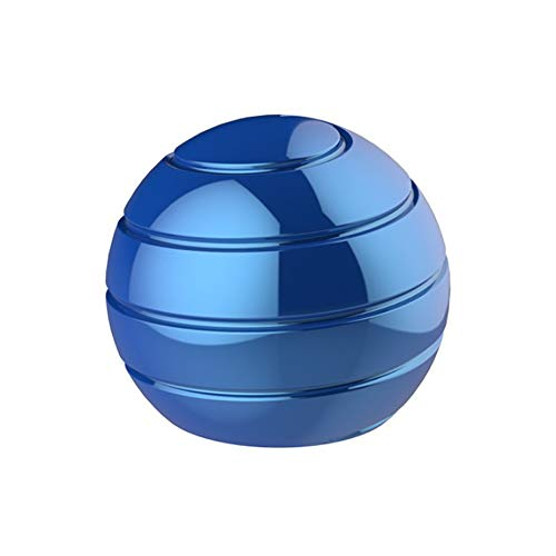 Tino Kino Power-Rotating Kinetic Desk Toy for Adults Office Stress Relief with Full Body Optical Illusion Metal Spinning Ball (Royal Blue)