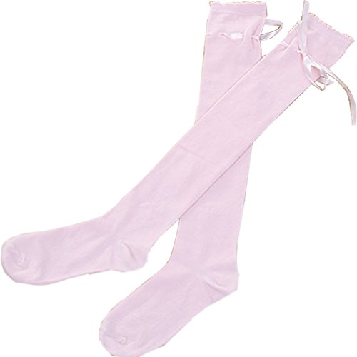 Women's Thigh High Socks Lolita Gothic Over Knee Stocking Lace Up Thigh Stockings PTK12 (Pink)]()
