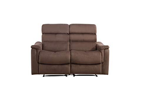 BONZY Manual Recliner Love Seat Recliner Chair for Living Room (Straight Row of 2,Chocolate)