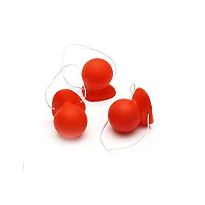Red Clown Nose, Rubber Carnival honking Clown Nose with Elastic: Clothing