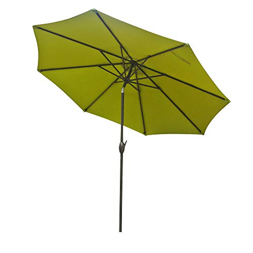 Cheap Aok Garden 9ft Antique Brown Finish Market Outdoor Umbrella W/Crank System tilt Function 220g PA Coating Sunshade Green
