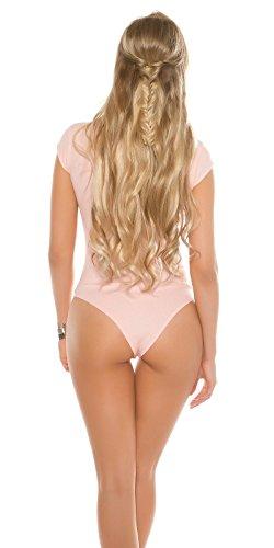 Edler Kurzarm-Body mit Spitze und Mesheinsatz - Damen Bodysuit Rippbody Farbauswahl One Size (Rosa)