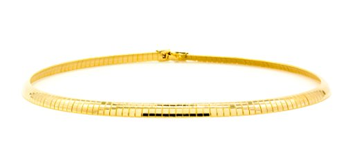 Mix&Match Unisex Gold Plated 4mm-10mmFashion Omega Flat Chain Necklace, 16