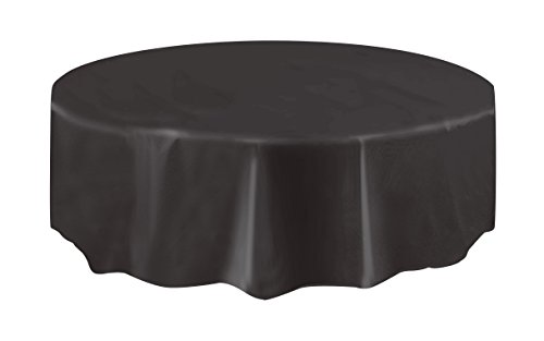 Round Black Plastic Tablecloth, (Black Round Table Cover)