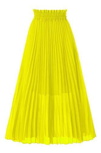 Musever Women's Pleated A-Line High Waist Swing Flare Midi Skirt Yellow Small/Medium