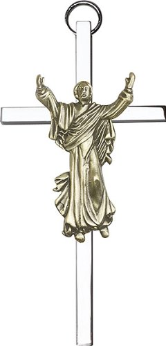 F A Dumont 4 inch Antique Gold Risen Christ on a Polished Silver Finish Cross