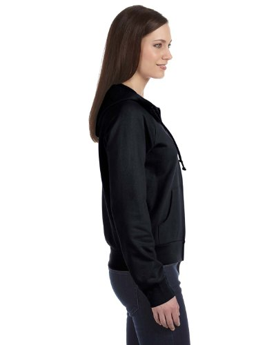Bella 7007 Womens Fleece Full-Zip Raglan Hoodie - Black, 2XL