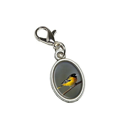 Charm Baltimore Orioles - Baltimore Oriole - Bird Antiqued Bracelet Pendant Zipper Pull Oval Charm with Lobster Clasp
