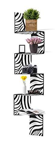 Adorn Home Essentials| Corner Zig Zag Wall Mount Shelves| 5-Tier Zebra with Black Edging