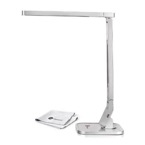TaoTronics 14W Schreibtischlampe LED Tischlampe Lampenkopf 180° drehbar 4 Modi dimmbar klemmbar mit USB-Anschluss zum Aufladen von Smartphones und Tablets