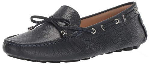 Driver Club USA Womens Leather Nantucket Tie-Bow Loafer Driving Style, Navy Grainy 6.5 M US