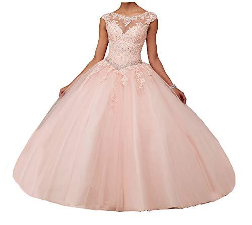 Jianda New Women's Girl's Boat Neck Floor Length Ball Gowns Quinceanera Dress 6 Light Pink (Quinceanera Dresses)