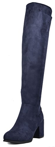TOETOS Women's Prade-01 Dark Blue Suede Over The Knee Chunky Heel Boots Size 8.5 M US (Dark Blue Leather Boots For Women)