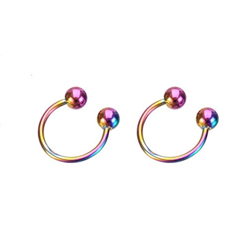 Botrong® 2PCS Stainless Steel Nose Open Hoop Body Piercing Studs Jewelry (Multicolor)