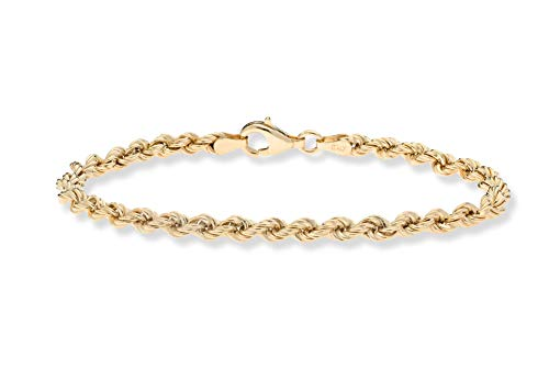 Classic 14k Gold Rope Chain - MiaBella 18K Gold Over Sterling Silver 4mm Classic Rope Chain Bracelet for Women Men, 6.5
