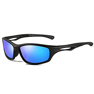Laura Fairy Polarized Sports Sunglasses TR90 Silver Unisex Running Cycling Fishing (matte black dark blue)
