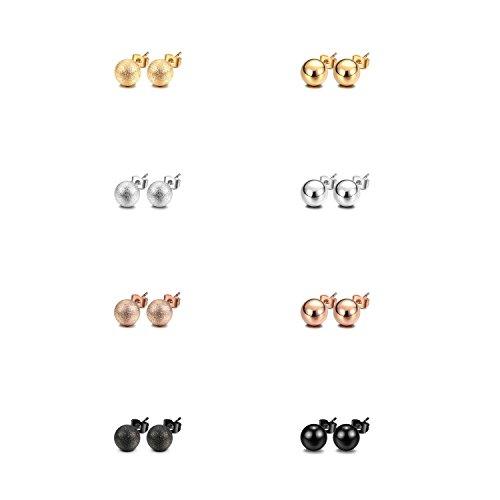 JewelrieShop Stud Earrings Ball Earrings Shiny and Matt Assorted Colors Set Unisex (8pairs/set) (01. Shiny and Matt, Size (Shiny Matt)