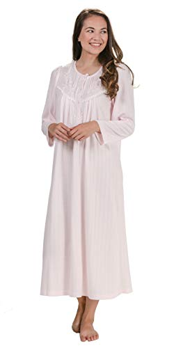 Miss Elaine Plus Pintucked Cuddleknit Long Sleeve Nightgowns in Pink (Pink, 3X) (Nightgown Pintucked)