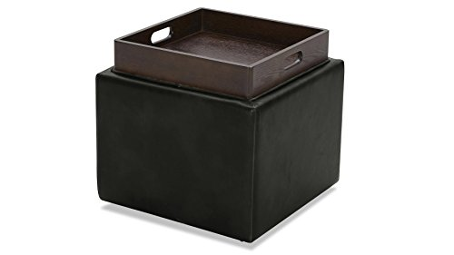 Zuri Furniture Berg Storage Ottoman in Leatherette with Ebony Wood Tray - Black ()