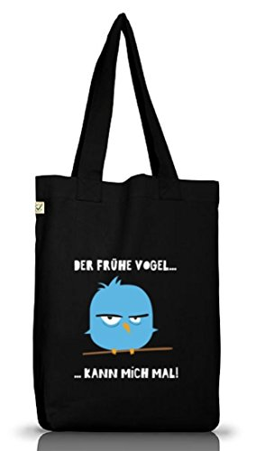 ShirtStreet Morgenmuffel Jutebeutel Stoffbeutel Earth Positive mit Mad Bird - der frühe Vogel Motiv Black