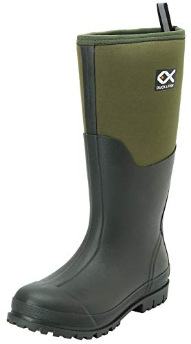 Duck and Fish 16 inches Fishing Hunting Neoprene High Rubber Overlay Molded Outsole Knee Boot (11 Men, Green)