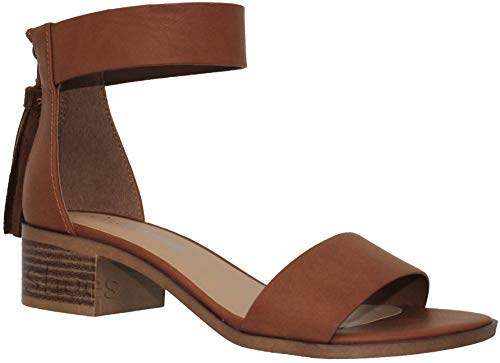 MVE Shoes Open Toe Ankle Strap Back Zipper Heeled-Sandals,dk tan pu Size -