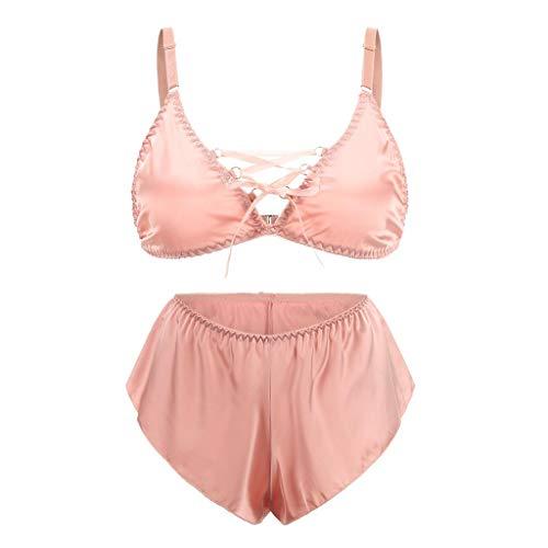 Women Lingerie QUNANEN V-Neck Womens Bandage Pajamas Satin Set Cute Top and Shorts Lingerie Nightwear Bodysuit Sleepwear Pink ()