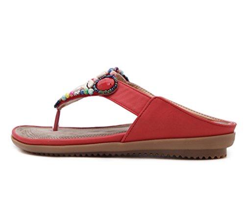 Tacco Sandali Boemo da con Fiore a Infradito Piatti Grandi CCZZ da Forma Pantofole Rosso di 45 Donna Estate Perline Decorare Modello Dimensioni 35 t0wxvXdnqX