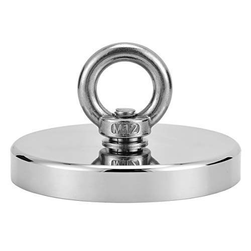 Uolor 1280LBS (580KG) Super Strong Neodymium Fishing Magnet, N52 Magnetic Grade Powerful Round Neodymium Magnet with Eyebolt Great for Magnet Fishing and Retrieving in River - Diameter 4.73''