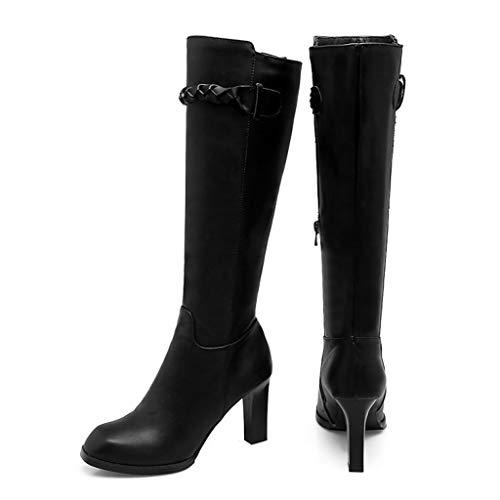 Caballero Zapatos La De Cremallera Altas Cuadrada Antideslizantes Abrigados Impermeable Lateral Fcxbq Rodilla Cabeza Damas Botas Para Tacón Plataforma Black Gruesas Alto xaFEx8qvw6