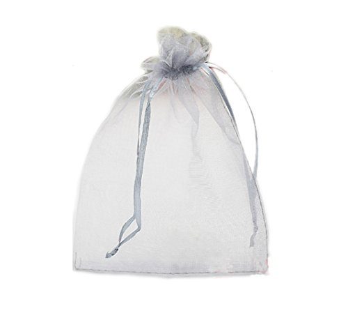 Riverer Silver Gray Organza Drawstring Gift Bags, Various Size, 100 Pcs (17x23cm (6.7x9 Inches))