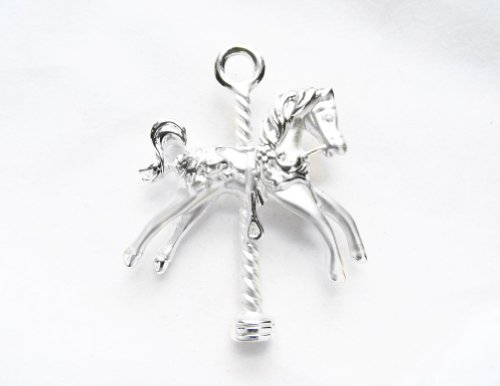 [AJC Co. Silver - Plated Carousel Horse Pin Brooch] (Mary Poppins Costumes Child)
