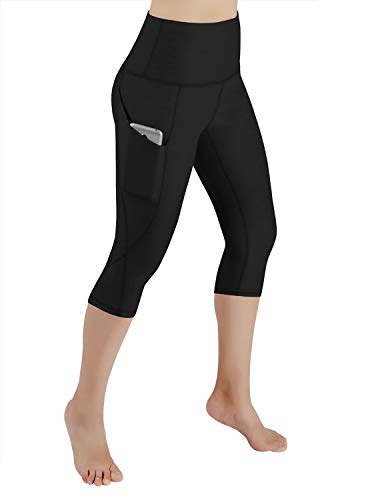 ODODOS High Waist Out Pocket Yoga Capris Pants Tummy Control Workout Running 4 Way Stretch Yoga Leggings,Black,Medium