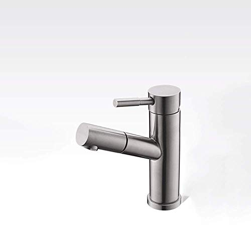 SXYULQQZ Pull-Out Single Hole Basin Faucet Stainless Steel Hot and Cold Faucet Wash Basin