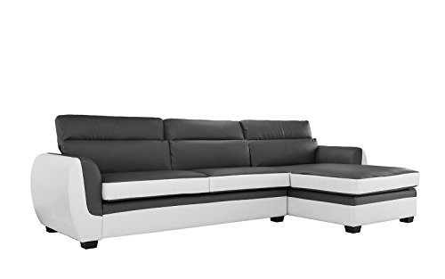 Modern Bonded Leather Sectional Sofa, Large Living Room L Shape Couch (Dark Grey / White)