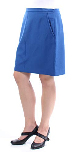 Anne Klein Womens Crepe Mini Pencil Skirt Blue 10