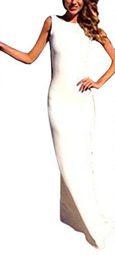 Vestidos De Fiesta Mujer Elegante Sin Mangas Cuello Redondo Espalda Abierta Basic Vestido Largo De Noche Slim Fit Joven Moda Verano Bodas Coctel Dress Ropa Blanco