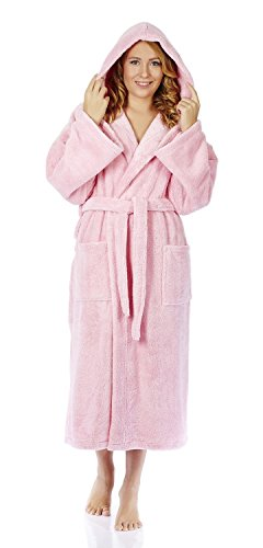 - Arus Women's Hooded Fleece Bathrobe Turkish Soft Plush Robe, Pink, SM