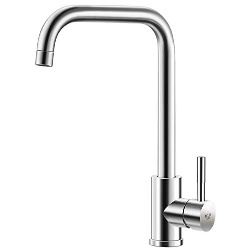 NO.16 LOVER Commercial utility Stainless Steel Single Handle Kitchen Faucet Lead-free Ceramic Valve 360 Degree Swive Brushed Nickel modern Hot and Cold water Tap for Kitchen Sink Faucet and Bar Faucet