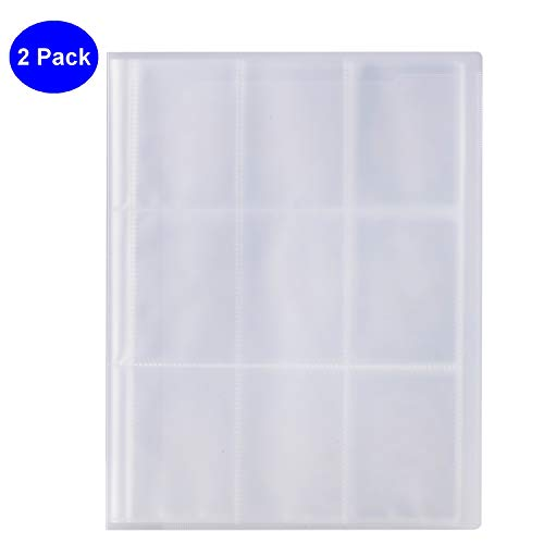 Trading Cards Album, OUSL 2 Pack 288 Pockets Mini Photo Album Sleeves Business Card Ticket Holders Game Membership Card Coupon Page Protectors -