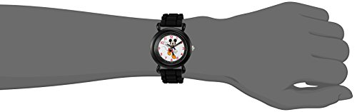 Disney Boy's 'Mickey Mouse' Quartz Plastic and Silicone Casual Watch, Color:Black (Model: WDS000011)