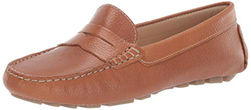 Driver Club USA Womens  Genuine Leather Made in Brazil Naples Loafer Driving Style, tan Grainy, 9 M US