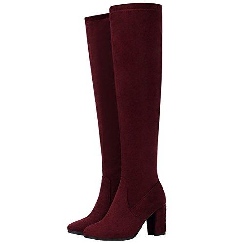 weinrot wildleder Boot Women's AIYOUMEI Classic qwt0x7H
