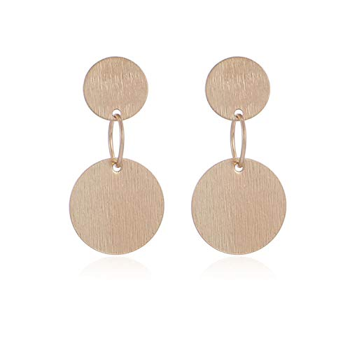 Small Stud Earring Brushed Gold Studs Geometric Metal Earrings Women Vintage Fashion Gift,Gold