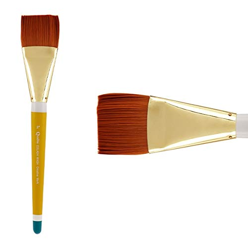 Creative Mark Qualita Golden Paint Brush Taklon Short Handle Paint Brush for Acrylics, Oils, Fine Art, Heavy Bodied Media - Single Brush - [Colada Wash - Size 2in] by Creative Mark