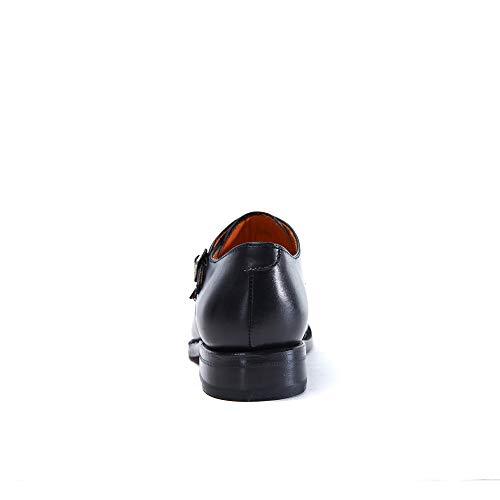 Donna Di Black Nero Scarpa Cap Strap Toe Con Fibbia Colore Decorazione Goodyear Doppia Monk 8wPwOYq1