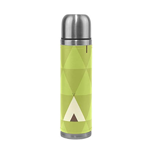WangH Stainless Steel Teepee Camping Water Bottle Thermos- Insulated Vacuum Cup, Leather Cover 17 oz Travel Mug for Kids Adults