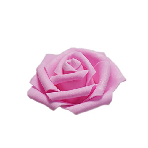 Flyusa 100 pcs Artificial Flowers 2.4 inch Foam Rose Flower Heads For Bridal Bouquet Wedding Centerpieces Kissing Balls Party Home Decoration(Dark Pink)